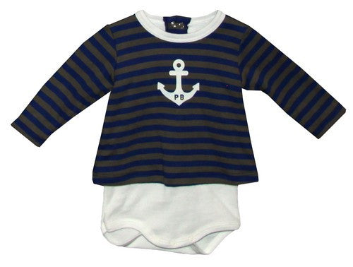 Petit Bateau Baby Boy Long Sleeve Bodysuit With Striped Blouse