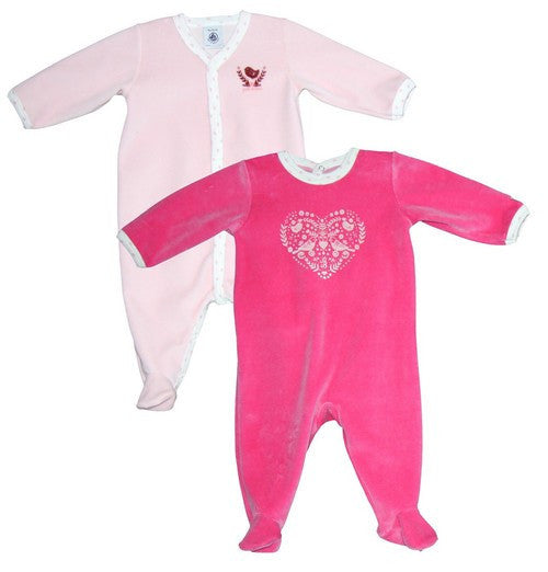 Petit Bateau Baby Set of 2 Velour Footies