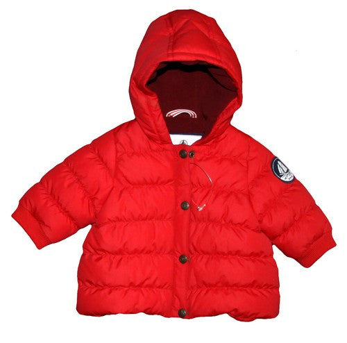 Petit Bateau Baby Girl Hooded Puff Jacket with Logo on Sleeve