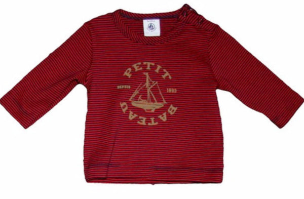 Petit Bateau Baby Boy L/S Striped Graphic Tee with Shoulder Button