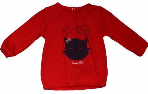 Petit Bateau Baby Girl Red L/S Graphic Tee