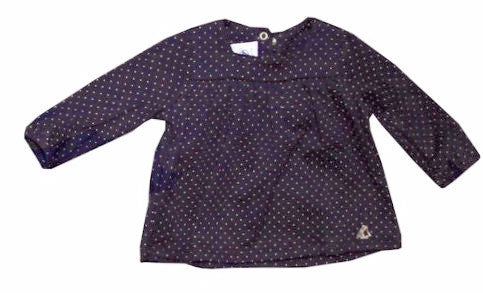 Petit Bateau Baby Girl Navy Babydoll Shirt with Small Polka Dots