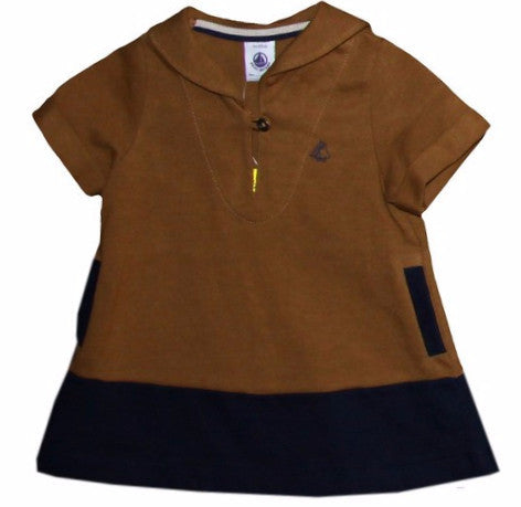 Petit Bateau Baby Girl S/S Sailor Collar Colorblock Dress