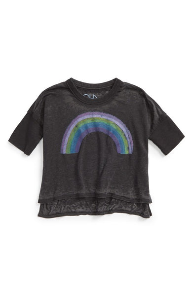 Chaser 'Chasing Rainbows' Graphic Dolman Sleeve Tee (Toddler Girls & Little Girls)