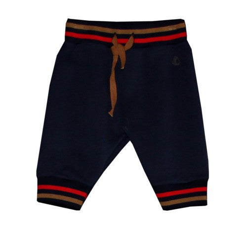 Petit Bateau Baby Boy Navy Sweatpant with Striped Ribbed Cuff