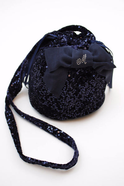Monnalisa Girl's Navy Swarovski Sequined  With Satin Bow