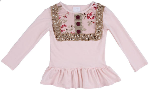 Persnickety Girl's Pink Lou Lou Peplum Top