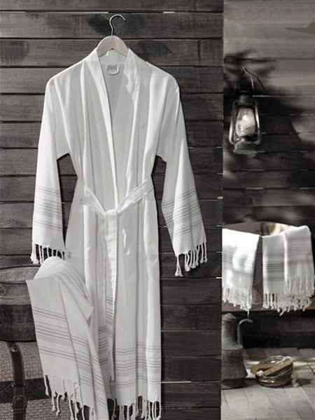Moss Verbena %100 Cotton Turkish Pestemal Kimono Bathrobes For Women and Men