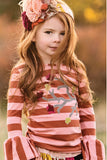 Persnickety Girl's Brown Pink Stripe Ruffle Sleeve Tee