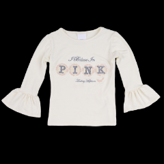 Persnickety Girl's Cream Applique Ruffle Sleeve Tee