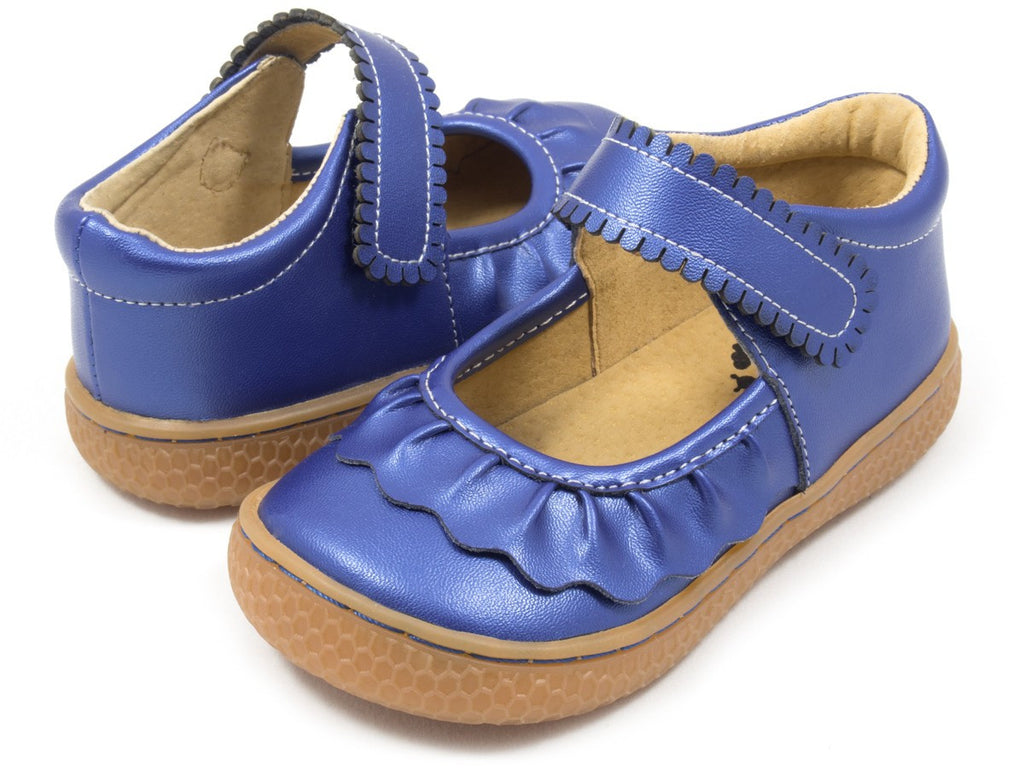 Livie & Luca Girl's Ruche Cobalt Blue Shimmer Shoes