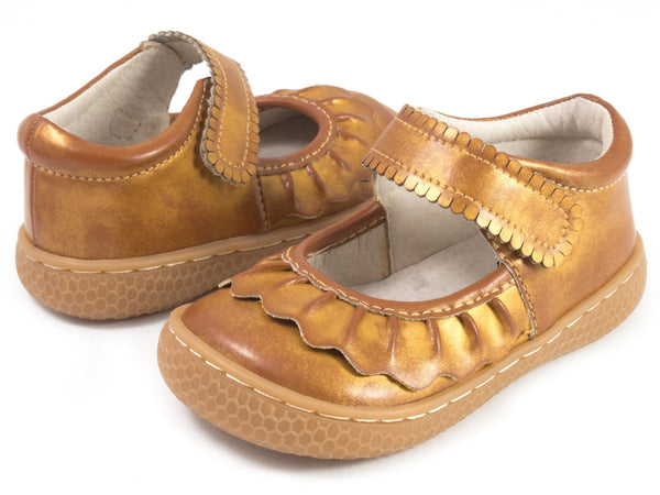 Livie & Luca Girl's Ruche Honey Gold Shimmer Shoes