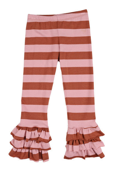 Persnickety Girl's Brown Pink Stripe Triple Ruffle Legging