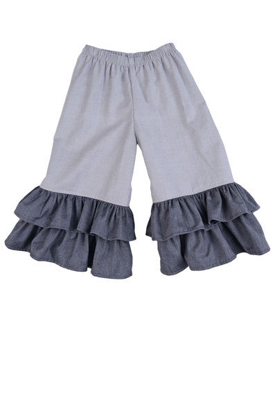 Persnickety Girl's Grey Double Ruffle Bells