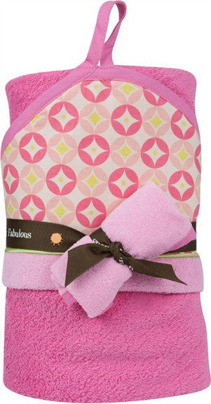 Baby JaR Hooded Towel and Wash Cloth Set in Peeps Design