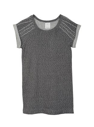 Ella Moss Big Girls' Cara French Terry Grey Dress with Silver Studded