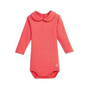 Petit Bateau Baby Girl Long Sleeve Bodysuit with Collar