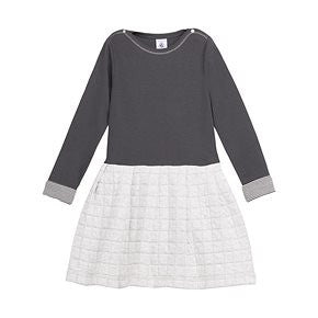 Petit Bateau Girls L/S Dress Solid Charcoal Top/Quilted Skirt