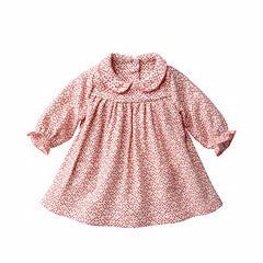 Petit Bateau Baby Girl Long Sleeve Printed Dress with Collar