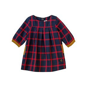 Petit Bateau Baby Girl L/S Checkered Dress with Contrast Cuffs