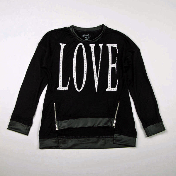 Flowers by Zoe - Girl's Love Black Sweatshirt