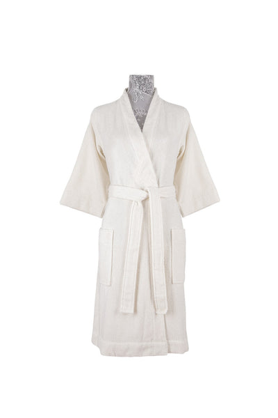 Moss Verbena %100 Organic Cotton Natural Color Turkish Spa Bathrobes For Women