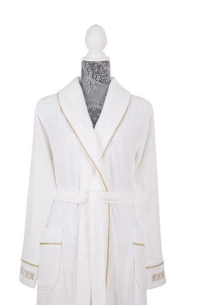 Moss Verbena %50 Bamboo %50 Cotton Turkish Spa Bathrobes with Silver and Gold Color Embroidery For Women