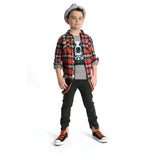 Appaman - Boy's Orange Teal Plaid Flannel Shirt