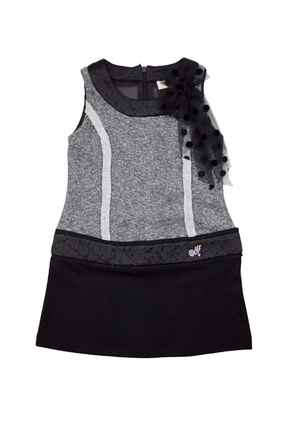 Monnalisa Girl's Mini Couture Sleeveless Black/Grey Dress