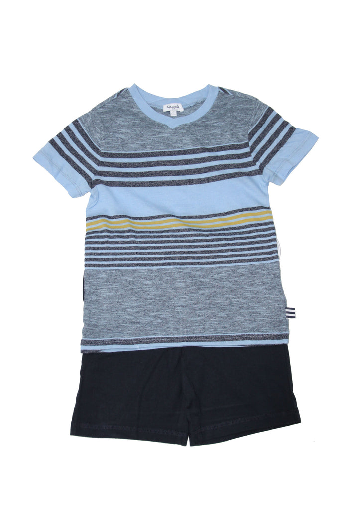 Splendid Mock Stripe Navy-Blue Jersey V-Neck Set