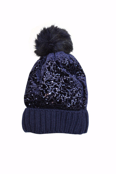 Monnalisa Girl's Navy Sequined Hat With Fur Pom Pom