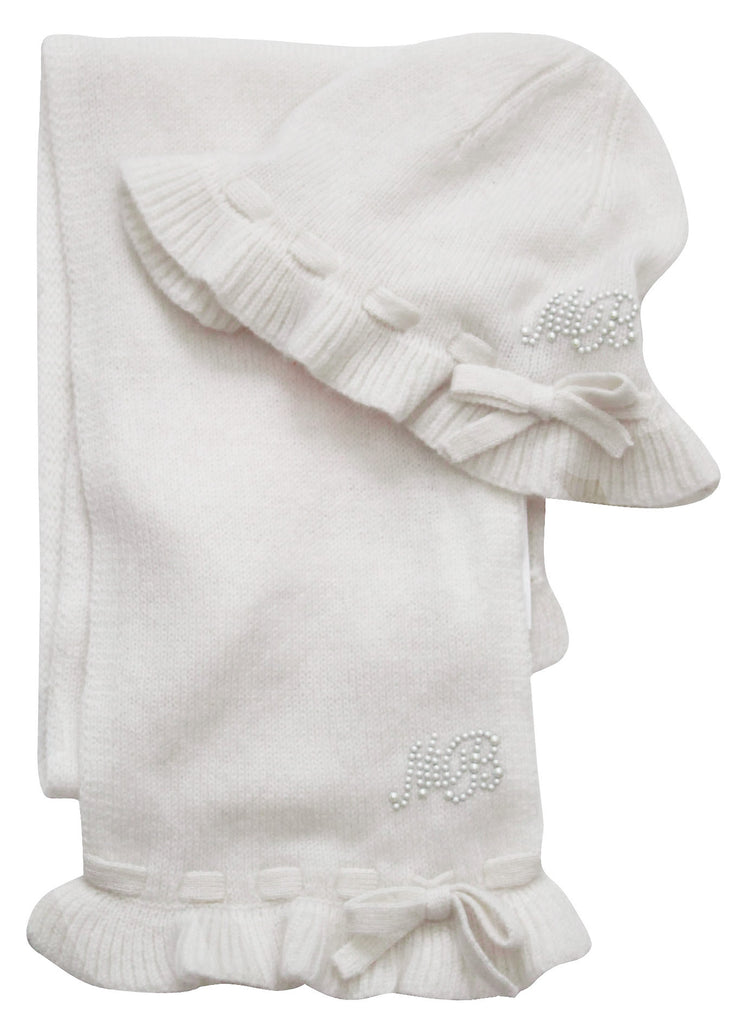 Monnalisa Baby Girl's Cashmere Hat & Scarf Set- Ivory/Grey Color