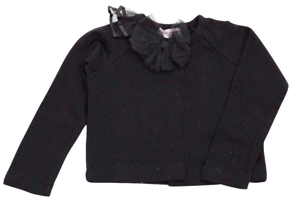 Monnalisa Girl's Black Cardigan with Tutu Bow