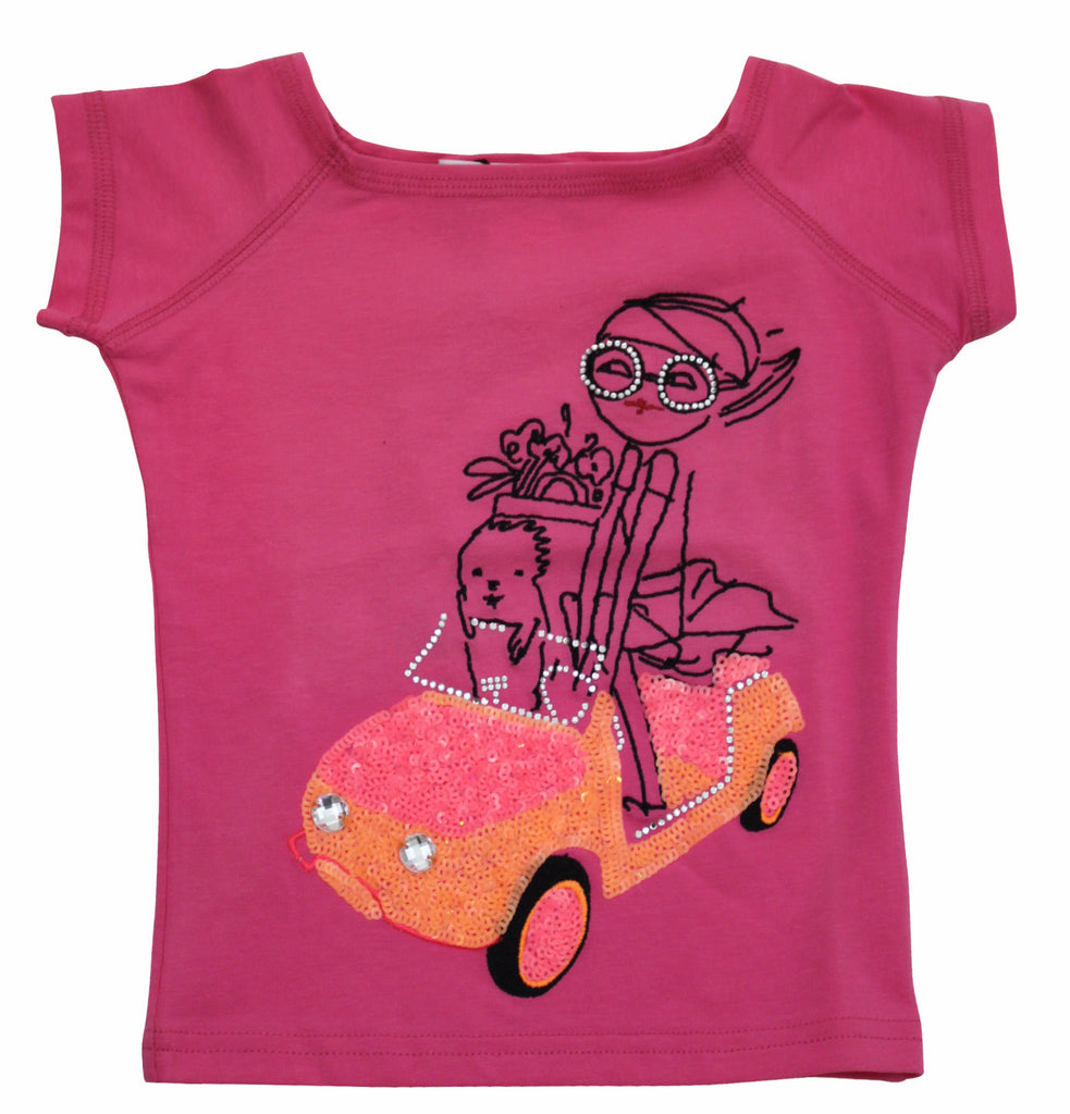 Sonia Rykiel Girl's Red Short Sleeve T-shirt with Driving Girl Print