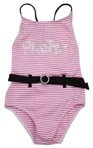 Sonia Rykiel Enfant Striped Swimsuit with Belt and Rhinestones
