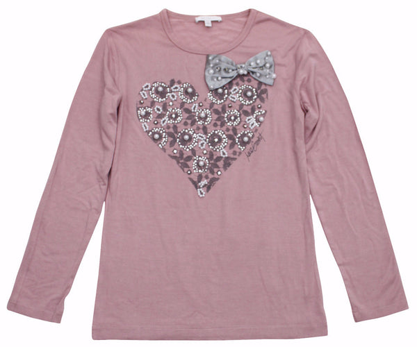 Miss Grant Girl's Long Sleeve T-Shirt With Strass and Pearls