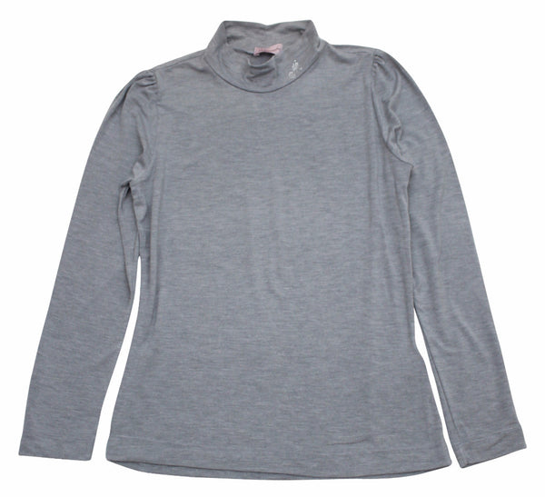 Monnalisa Girl's Basic Grey Long Sleeve Turtleneck T-Shirt