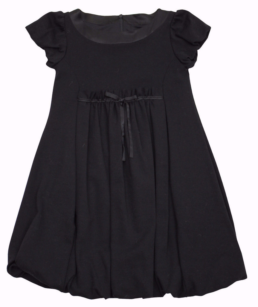 Monnalisa Girl's Black Ruffle Bow Dress