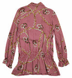Miss Grant Girl's Red/Golden Print Blouse