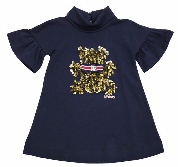 Miss Grant Girl's Top Tunic Dress With Gold Sequins