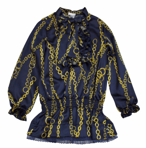 Miss Grant Girl's Navy with Gold Chains Blouse