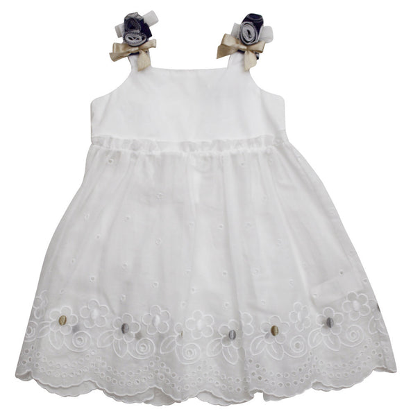 Monnalisa Baby Girl's White Summer Dress