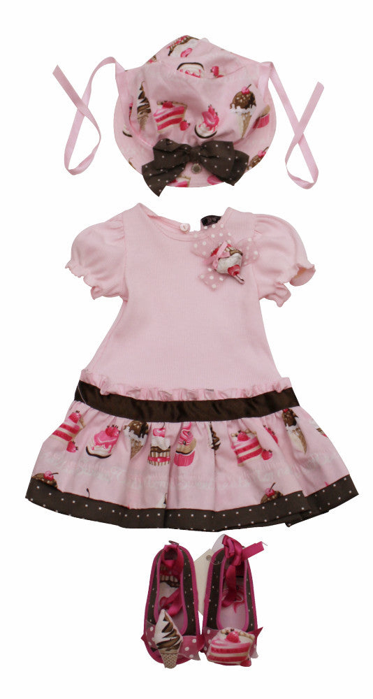 Monnalisa Designer Pink Ice Cream Summer Dress Set
