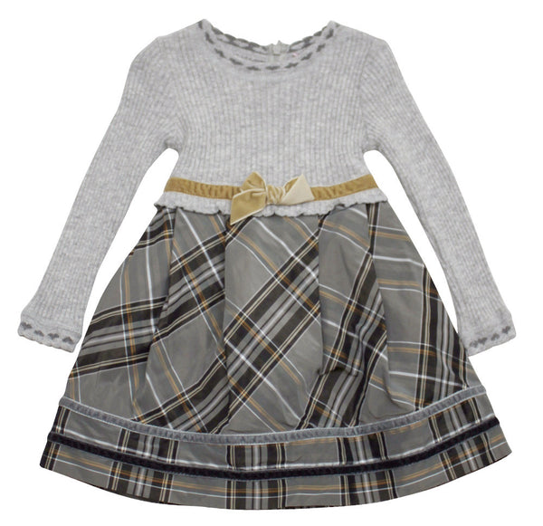 Monnalisa Baby Girl's Knitted Dress with attached Taffeta Skirt