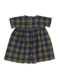 Petit Bateau Baby Girl Short Sleve Olive/Navy Checkered Dress