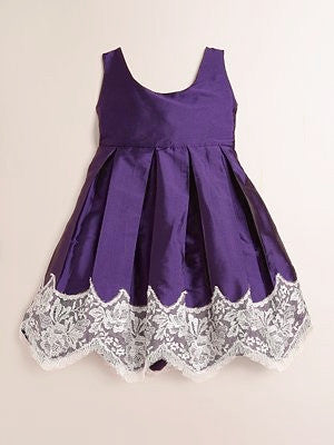 Isabel Garreton Girl's Sleeveless Taffeta Dress with Lace