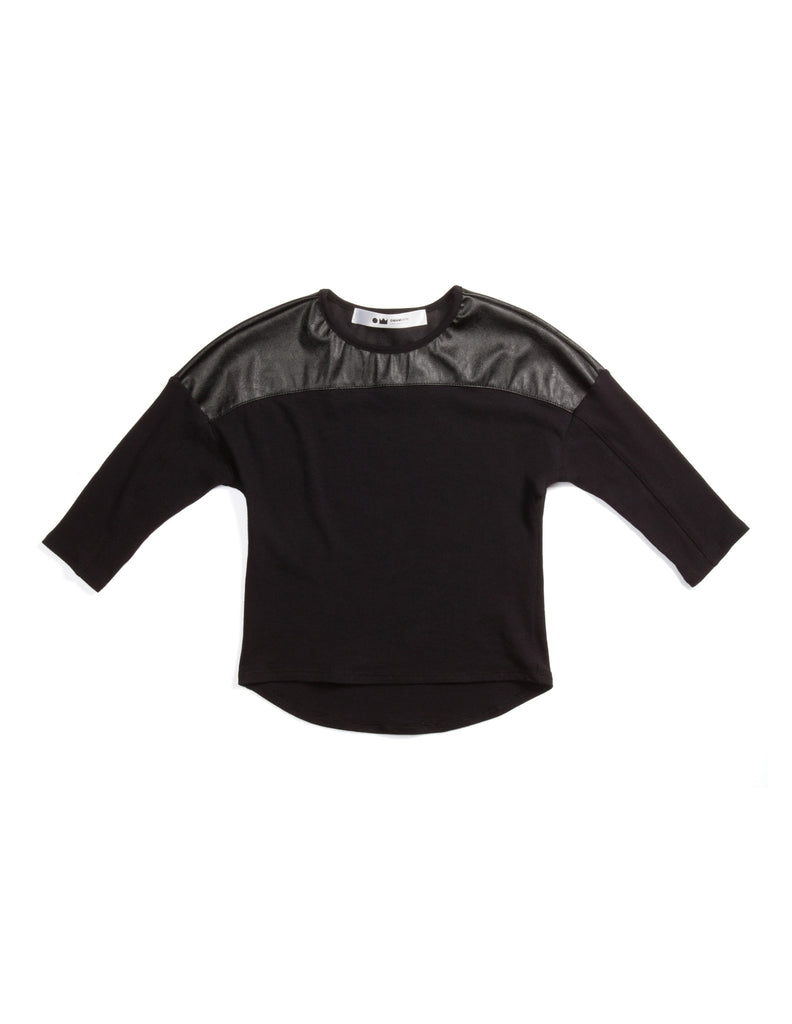 OmamiMini - Black Top with Faux Leather Detail