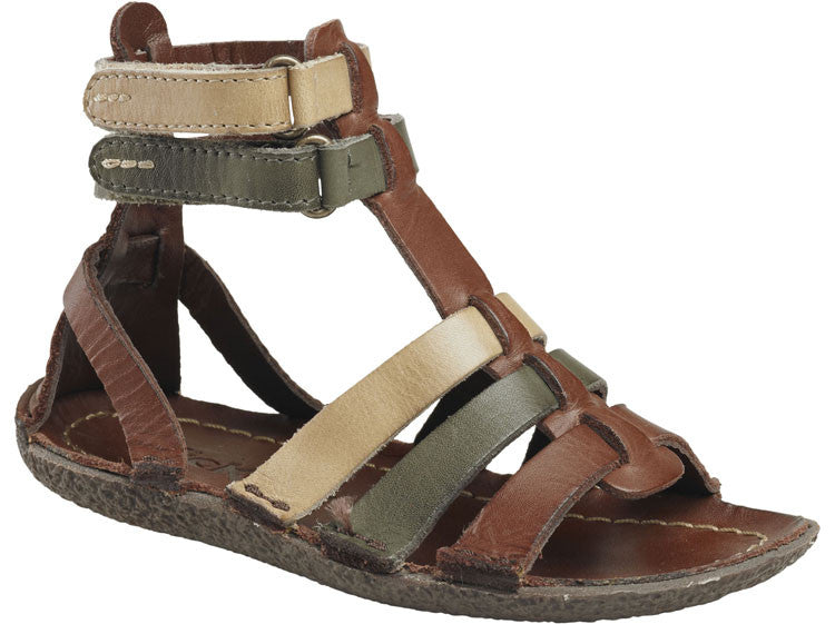 Kickers Peplum Gladiator Brown Multi Color Girl's Sandals