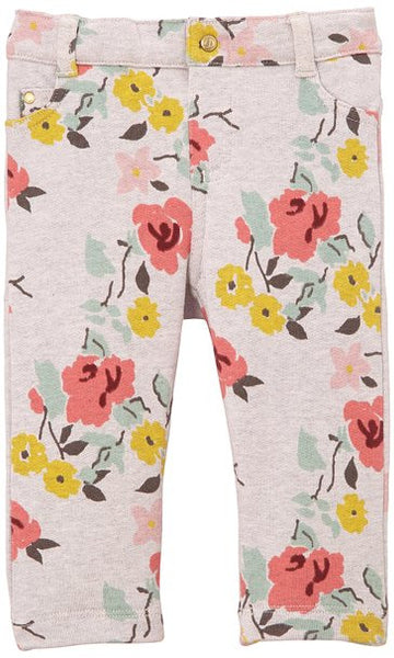 Petit Bateau Baby/Toddler Girls' Floral Print Pants - Gray/Multicolor