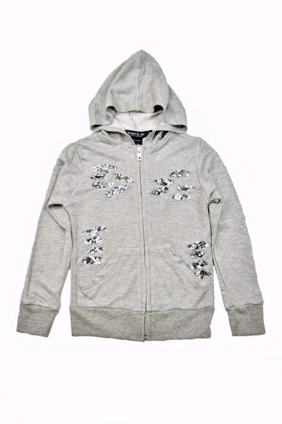 Flowers by Zoe - Girl's Grey Hoodie Jacket